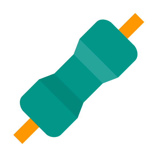 Resistor icon. The resistor is shaped like a bow tie with two strings on either end. The bow tie is cut into 5 symmetrical segments. the middle segment is the thinnest, and it gets thicker as it goes outwards.