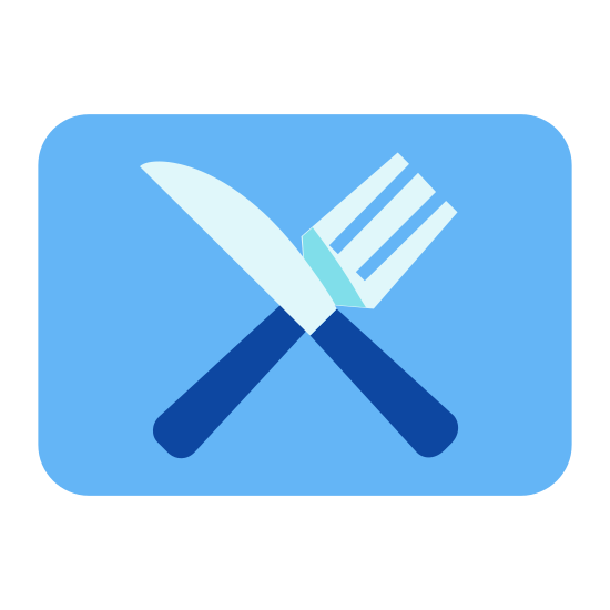 Dining icon. This looks like a spoon and a knife inside of a box. They are crossed, the spoon going from the bottom-left to the top-right, and the knife going from the top-left to the bottom-right.