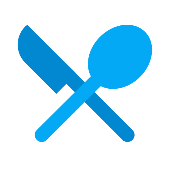 Restauracja icon. It's a logo for restaurants that has been reduced into a fork and a knife. The fork has three prongs and rounded handle. The knife is in the shape of a butter knife with no teeth and has a rounded handle to match the fork.