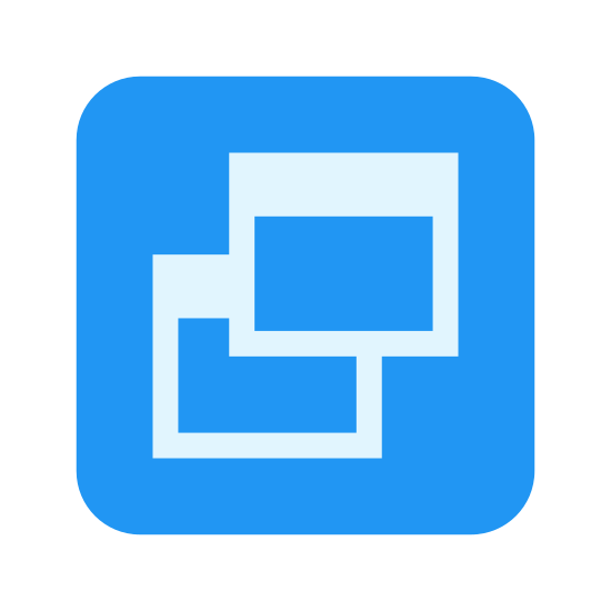 Restore Window icon. There is a square with two other squares overlapping each other in the center of it. The two overlapping squares also have a line towards the top of them. The square to the right is overlapping and higher than the one on the bottom and left.