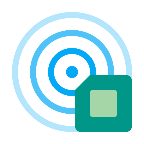 RFID Sensor icon. This is a picture of 3 unfinished circles that connect to a square with one of the corners being cut off. There is a smaller, full square in the middle of the other square.