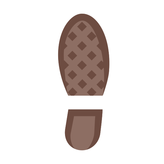 Prawy but icon. The icon is a right shoe print. The shoe the print belonged to has a raised heel, and is a round shoe. However, the heel is not too raised, and is a fairly large heel that would give good support.