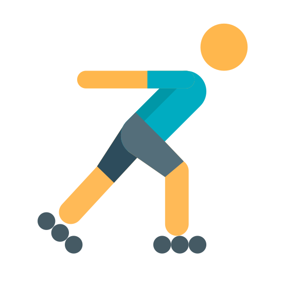 Jazda na rolkach icon. This is an image of a two-dimensional human figure.  The figure is in a skating position facing towards the right.  The skates of the figure are composed of three circles lined up next to each other.