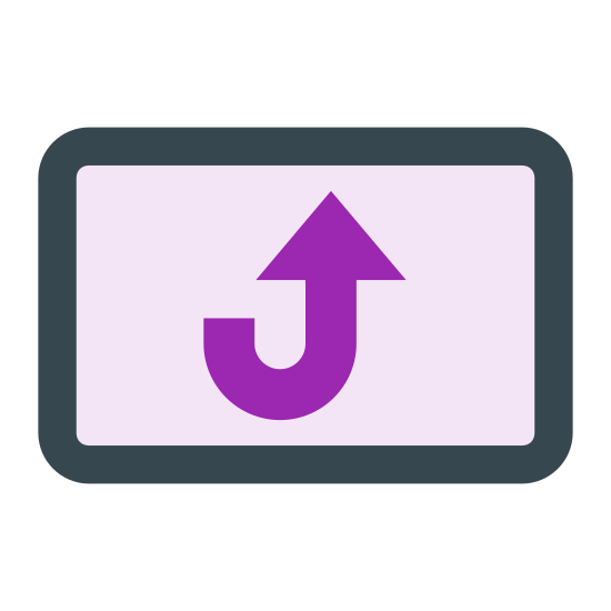 Rotation icon. This icon has a portrait-oriented rectangular shape and the edges of it are rounded off. Inside of the rectangle lies another rectangle and a small dot at the far right of the rectangle. Their is an arrow in the top left corner that hugs the big rectangle.