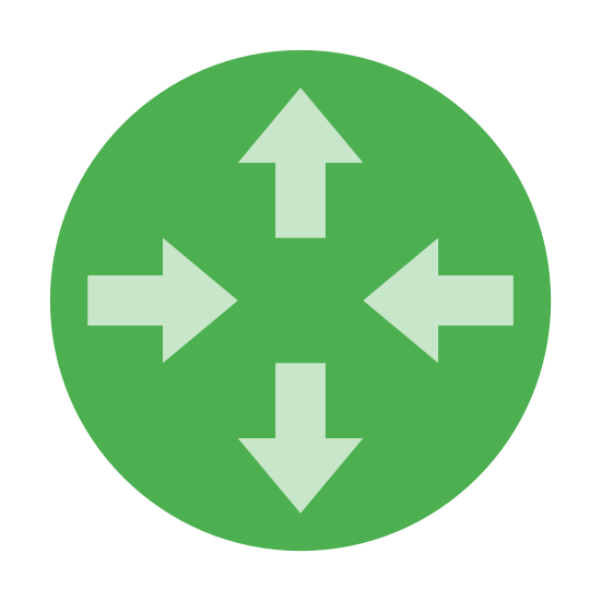 Router icon. This is a photo of a circle with four arrows in the middle of it. Each arrow points to the North, South, East, and west, like a compass. Or up, down, and inward might be more accurate.