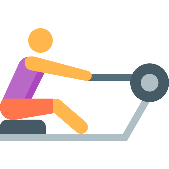 Rowing Machine icon. It's a logo for a person using a rowing exercising machine. The person is sitting down on the seat, and their arm is extended holding onto the machine. It indicates that the machine works as they pull the extended part.