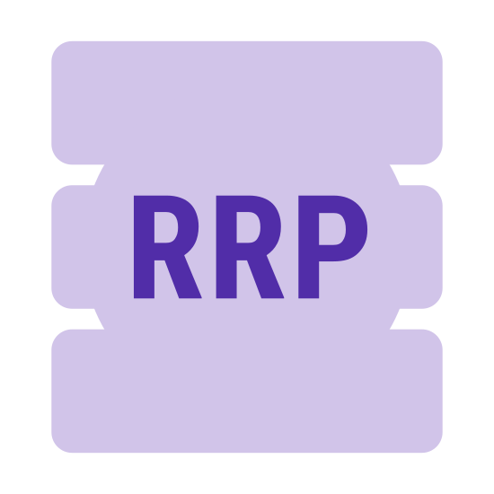 RRP icon. This is an image of a piece of paper.  The paper has its uppermost right corner folded down towards the viewer.  In the center of the paper is the initials RRP.