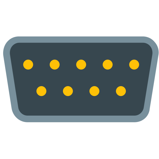 RS-232 Male icon. It's a logo of Rs 232 Male. It's pretty much reduced to a trapezoid with several dots inside of it. The top row of dots has five and the bottom has four.
