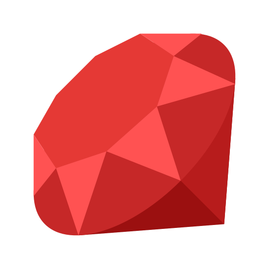 Programmiersprache Ruby icon. The icon had a octagon shape at the center of it and is surrounded by various triangle shapes both upside down and right side up. Under the triangles at the very bottom are to upside down right angle triangles. Together they all form a gem-like shape.