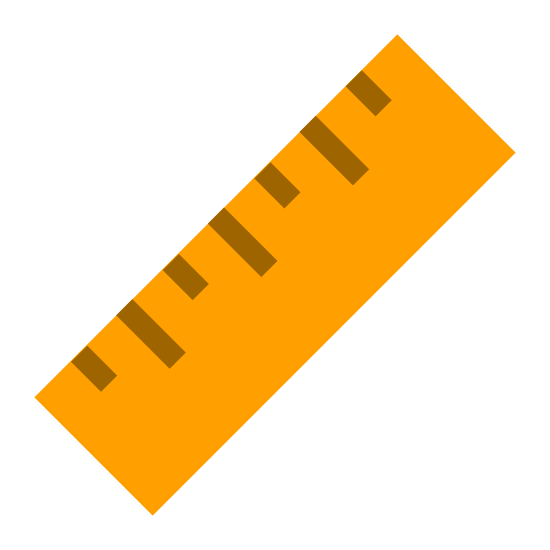 物差し icon. The ruler icon is a rectangular shape icon with lines on onside. There are four smaller lines,  which represents centimeters. There are also three longer lines that are about double the length of the centimeter lines and the longer line represents inches.