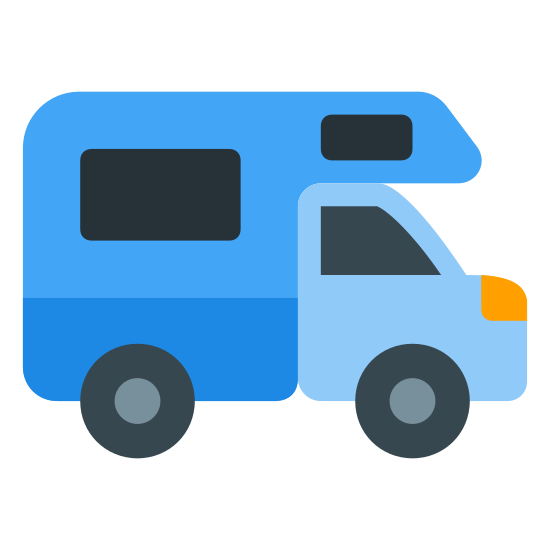 Camper icon. The icon is a very simplified depiction of an RV camper. The back is a small living space, moving to a front reminiscent of a van. The icon symbolizes a campground where recreational vehicles may camp for the night, implying possession of many services crucial to the living of an RV.