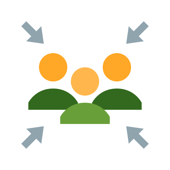 Schron bezpieczeństwa icon. The image is of a group of four people. All are shown as a simple head and shoulders outline only. They are close together in the center and there are four arrows pointing toward them from each diagonal direction.