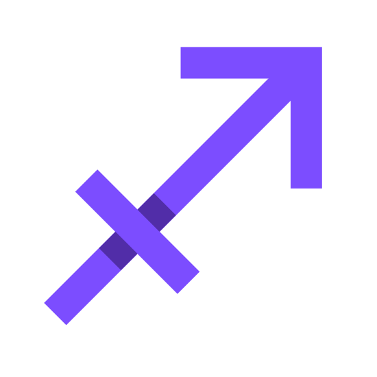 Sagittarius icon. This is an icon representing the astrological sign Sagittarius. It has an arrow pointing up and to the right with a perpendicular line on the base of the arrow that is the same width as the arrow head.