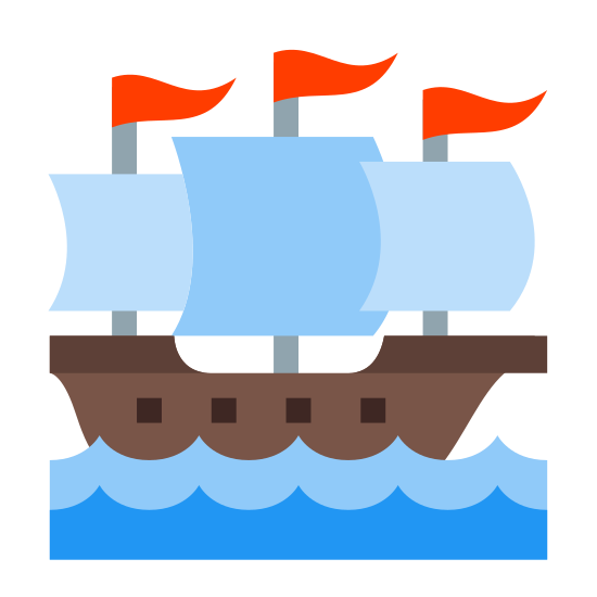Sailing Boat icon. This icon looks like a sailing ship, at sea. There are waves beneath the ship, and the ship is facing to the right, sailing into the waves. The ship has three sails, on three masts.