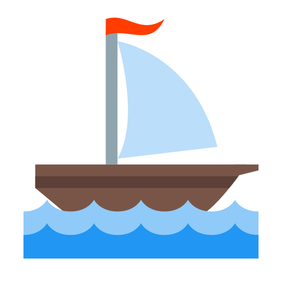 Sailing Ship icon. It's a logo of a Sailing Ship Small reduced to a little sailboat. The outlines of the boat are dark, and it is white in the middle. The ocean beneath the boat looks like a smooth current.