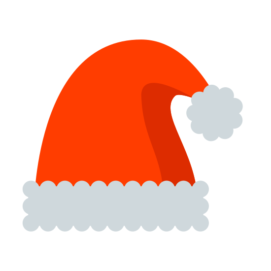 圣诞老人帽子 icon. It's a logo of Santa's hat. On the bottom is a long rectangle curved upwards slightly representing the bottom frill. Then out of that comes the cap part with folds over slightly on top to the right with the circular ball at the end.