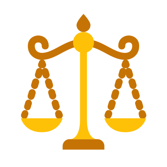 Waage icon. It's a drawing of the scales of justice.  Its a drawing of an old mechanical scale with one side of the scale lower than the other to indicate that a weight has been placed on that side.