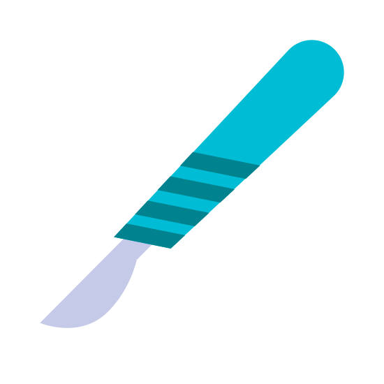 Scalpel icon. A surgeon's scalple used for accurate incisions. The balade is facing downward, and is clean of blood. The handle is vented and rather short, and on the stubby side as well.