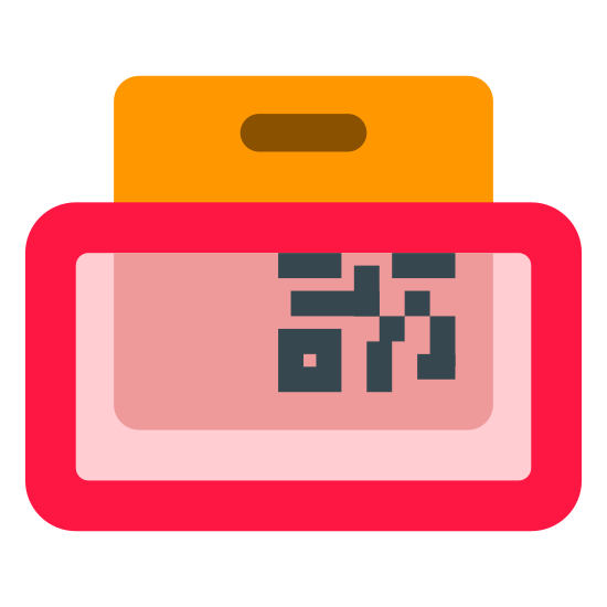 Scan Stock icon. It's a square with a QR code in the bottom right corner. There's a little oval at the top. The square is behind a rectangle, which is over the bottom half of the square.