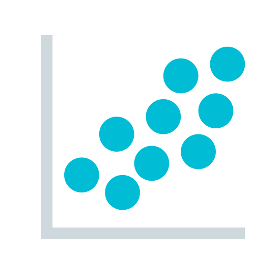 Scatter Plot icon. This is a photo of a 90 degree angle, or just the letter L. There are also 9 circles going from the lower left corner of the L to the upper right, symbolizing a graph.