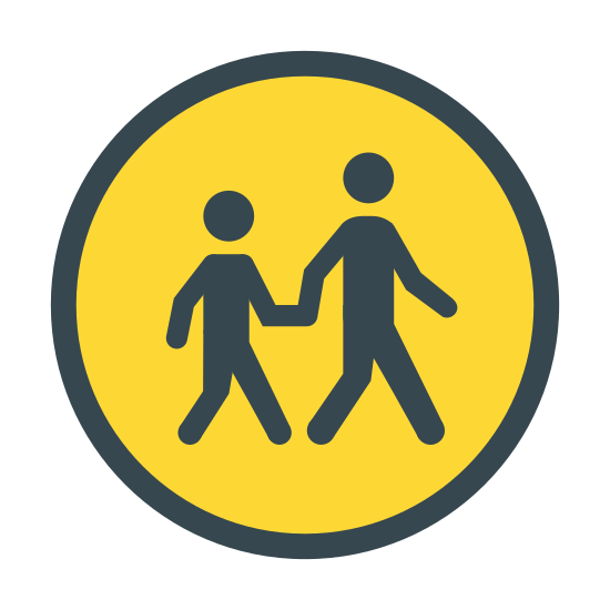 Crosswalk icon. A logo of two humanoid figures, one large, one small, holding hands. The logo is emplaced within a circle. The logo looks like a sign typically found on streets near schools urging caution to passing traffic.