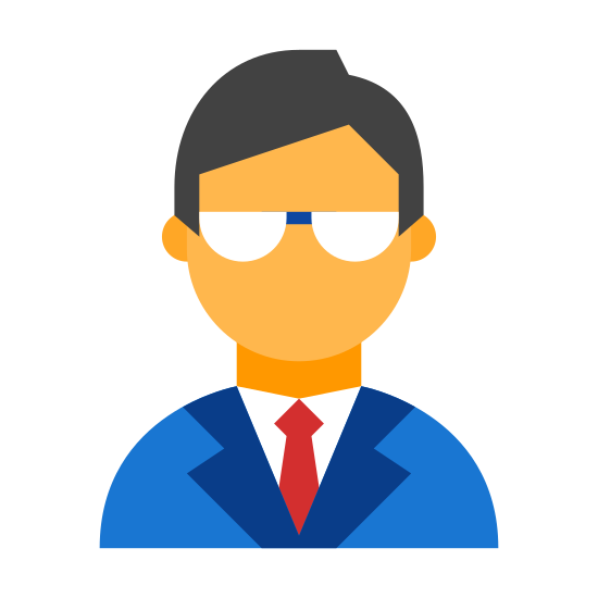 School Director icon. This is an image of a mans face. He is wearing glasses and he has a head of hair.