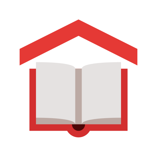 Scuola icon. A school symbol is shown with an open book and on top of the book there will be a pointy tip similar to triangle except without the base. The triangle represents the roof top of the school building.