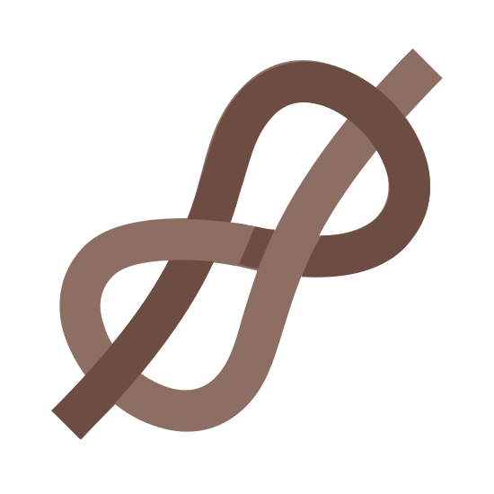 Scout Knot icon. It's a logo for a Scout Knot reduced to a rope tied in circles. The Scout Knot is a knot made by scouts. It goes in and around two circles.
