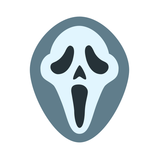 Scream icon. The icon is depicting an image of a mask popularized by the 'Scream' movie franchise. The face of the mask is enclosed within an oblong shape and the expression of the face is one of horror, surprise, or shock indicated by the mouth being wide open.