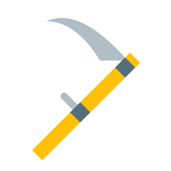 """Kosa icon. The logo for Scythe looks like the actual tool called a scythe, which is a long straight stick with a sharp curved blade on the end, and a small straight handhold in the middle. It is standing on end, and tilted to the right, so it resembles a backwards letter """"F""""."""