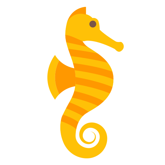 Seahorse icon. This is an icon representing a seahorse. It is a picture of a seahorse facing to the right. It has a little flipper and a curly tail. There is one eye showing and what looks like his eyebrow above it.