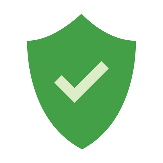 Protezione selezionata icon. The universal icon for Windows Defender, security checked. The shape of an old medieval shield, a point at the bottom, curving outward and upward on either side, then making and angle and curving back toward the point at the top. There's a check mark in the middle.