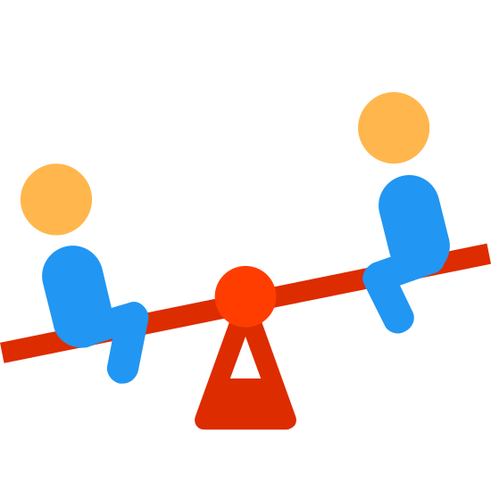 Seesaw icon. This is a picture of two people, perhaps children, on a seesaw. there is a spring underneath the seesaw balancing it. the person on the right is higher up than the leftmost person