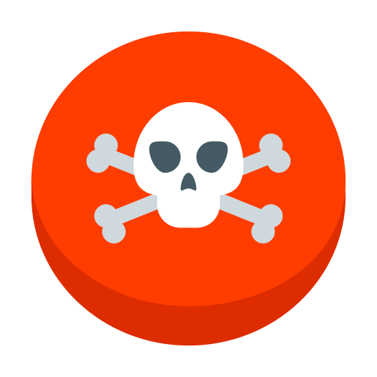 Przycisk autodestrukcji icon. This is an image of a circle. Inside of the circle is a skull and crossbones figure. The skull and crossbones figure contains two eye cavities and a nose cavity.