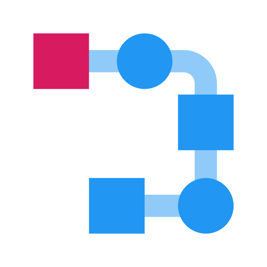 Zadania szeregowe icon. A serial task is shown with many different squares will lines connecting to each each of them. However, in serial tasks there will be one box that will be connected to two different boxes or ideas.