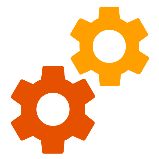 Services icon. In this icon there are two cogs aligned diagonally with each other.  The teeth of the gears do not intermesh, but it looks as if they could be brought to that state.
