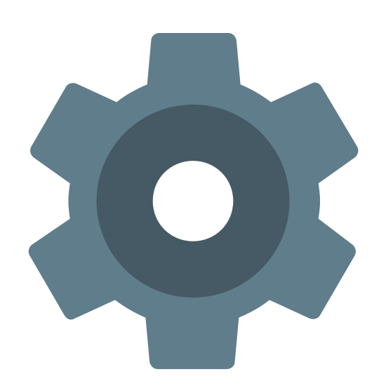 Settings icon. This icon represents settings.  It is shaped like a ship wheel.  A large circular shape with eight rectangle like protrusions go around the entire object.  In the middle is a small circle that is placed directly in the center.