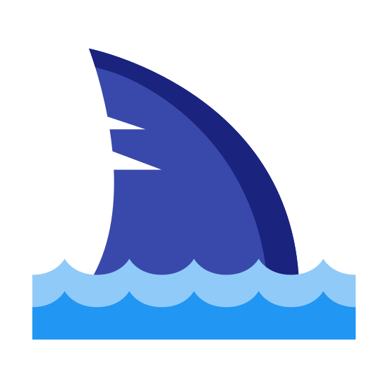 Shark icon. The icon looks like a side profile of a sharks dorsal fin sticking out of water. The fin has a slight diagonal line coming down from left side.  The water is shown as a single line wave.