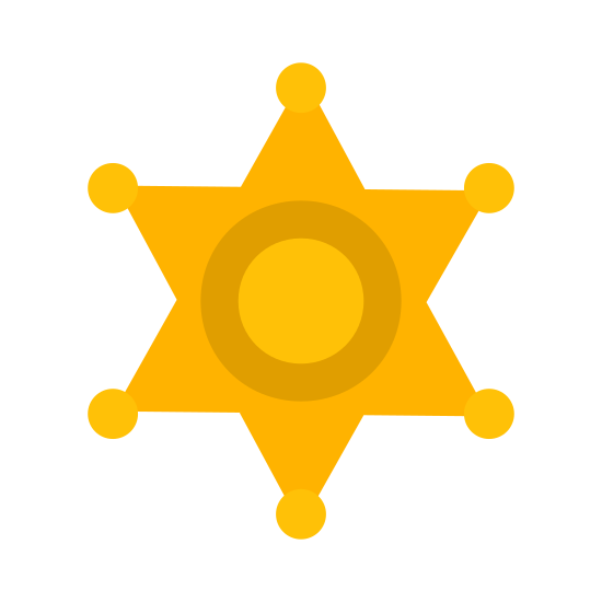 Sheriff icon. This can be described as a star with six edges whose edges contains a dot attached to them. Also there are two concentric circles at the center of the star.