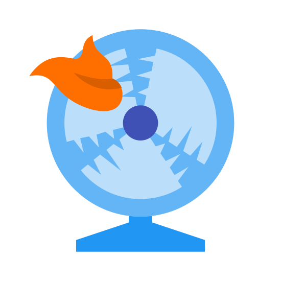 """Kupa w wentylator icon. The icon for """"shit hits fan"""" is shown as a fan. The fan has a rectangular base with a small piece directly above it, to which is attached the main portion of the fan, which is circular. On the left side of the main part of the fan is a piece of shit hitting the fan."""