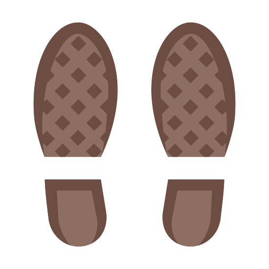Shoes icon. This icon represents two pictures of the soles of shoes. The top of the sole is separated from the heel. The soles show no tread and are very generic representations of the soles of two shoes.