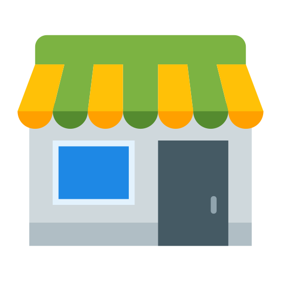 Shop icon. It's an icon for finding local shopping. The logo is a square, single floor building. The building has an awning at the top and a single window and a door on the right had side.