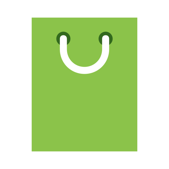 Shopping Bag icon. A shopping bag is a rectangle like container that has a circular string tied around it through two small circles. It is wrapped around your hand and can be carried around. It is used to go shopping, and ranges in sizes. The rectangle like bag either gets bigger or smaller depending.