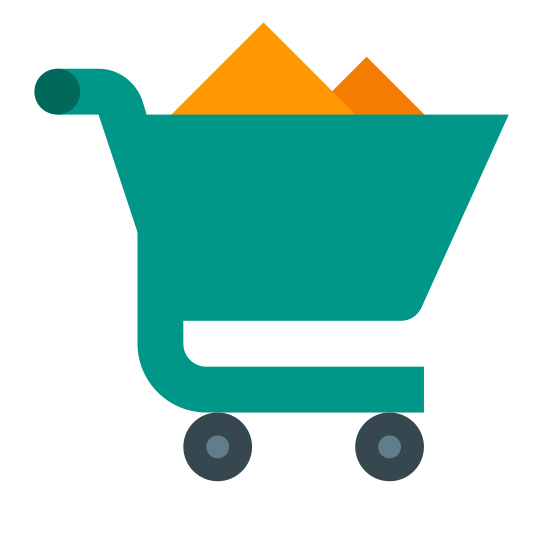 Buying icon. A shopping cart full of goods, unattended. What looks like two boxes poking out of the top, perhaps cereal or baking goods? The underside of the shopping cart is empty.