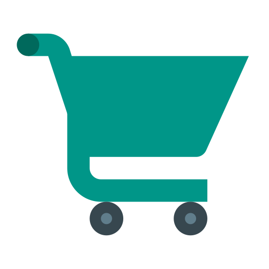 Koszyk na zakupy icon. It's a logo for a shopping cart. There is a small basket on the cart and a long line that goes from the handle to the wheels underneath the basket. There is a little dot at the end of the handle and two circles on the other end of the line depicting the wheels.