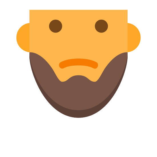 Krótka broda icon. This icon is in the shape of a man's face, minus the very top of the head. The eyes are black and filled in and the mouth is curved into a slight frown. On the bottom of the face is a curved line that sections off the chin, appearing like a beard.