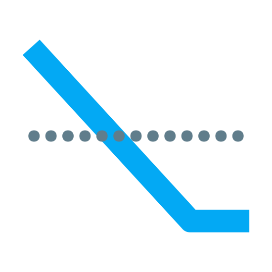 """Pozycja krótka icon. This icon for """"short position"""" consists of a number of small circles which are placed horizontally next to one another at the center of the image. There is a long line which runs diagonally across the the circles, and at the bottom of the line is attached a small horizontal line."""