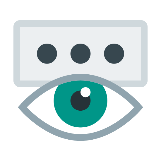 Show Password icon. This is a picture of a rectangular shaped box with three circles in the center of it going horizontally across. on the bottom of the box is an eye that is wide open and you can see the pupil