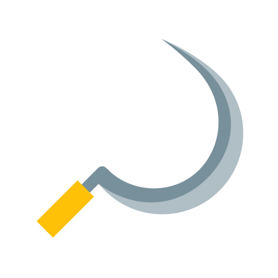 """Sickle icon. This icon is similar to a hook; it is shaped like a """"c"""" that is curved, and is sharper at one end."""