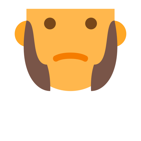 Sideburns icon. It is an icon of a persons face with sideburns. There are two dots for the eyes and a line the curves downward for the mouth. The icon stops above the eyes and has two half circles on the outside to represent ears. There is a circle on each cheek shaped like a pipe or animal tusk that represents the sideburns.
